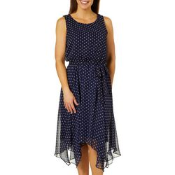 MSK Womens Polka Dot Handkercheif Hem Tie Waist Dress