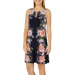 MSK Womens Floral Trim Puff Print Ring Neck Sleeveless Dress