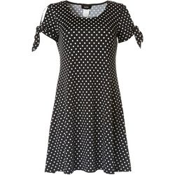 MSK Womens Polka Dot Tie Sleeve Dress