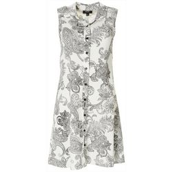 MSK Womens Textured Paisley Button Down Dress