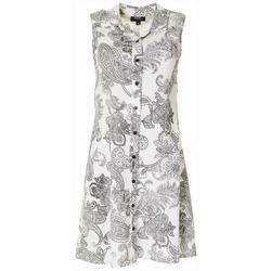 Womens Textured Paisley Button Down Dress