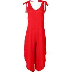 MSK Womens Sleeveless Solid Linen Jumpsuit