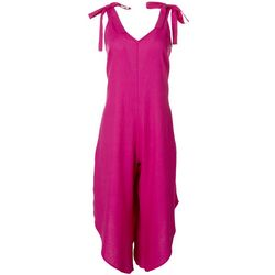 MSK Womens Sleeveless Solid Linen Jumpsuit