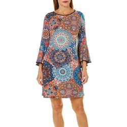 MSK Womens Medallion Print Bell Sleeve Dress