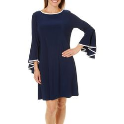 MSK Womens Contrast Trim Bell Sleeve Dress