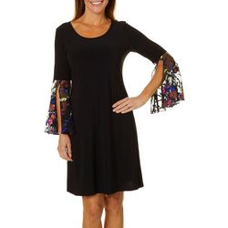MSK Womens Embroidered Floral Bell Sleeve Dress