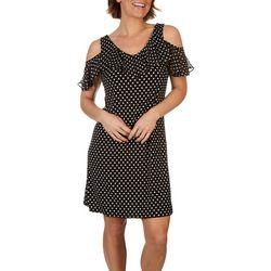 MSK Womens Off the Shoulder Polka Dot Dress