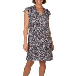Womens Mandrin Neck Tie Detail Floral Dress