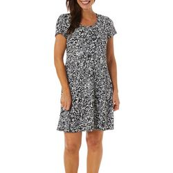 MSK Womens Cap Sleeve Puff Print Swing Dress