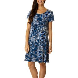 MSK Womens Paisley Puff Print Short Sleeve T-Shirt Dress