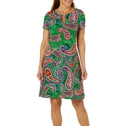 MSK Womens Dotted Paisley Ring Neck Dress