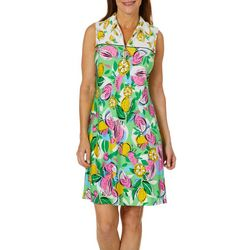 MSK Womens Fruit Print Zip Neck Swing Dress