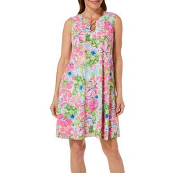 MSK Womens Watercolor Floral Print Ring Neck Dress
