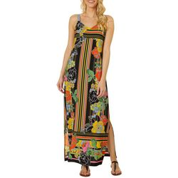 MSK Womens Striped Floral Maxi Dress