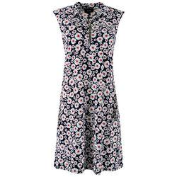 MSK Womens Textured Flowers Zip-up Neck Dress