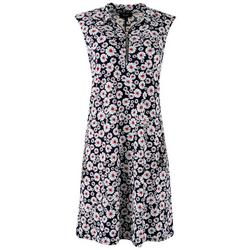 Womens Textured Flowers Zip-up Neck Dress