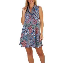 MSK Womens Textured Floral Collared Sleeveless Dress
