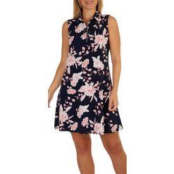 MSK Womens Textured Floral Sleeveless Dress