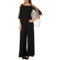 MSK Womens Glitzy Caged Poncho Jumpsuit