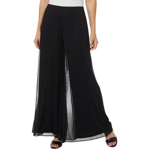 Msk Womens Solid Mesh Wide Leg Pants