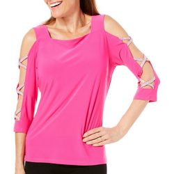 MSK Womens Solid Rhinestone Sleeve Top