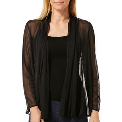 MSK Womens Solid Mesh Open Front Cardigan
