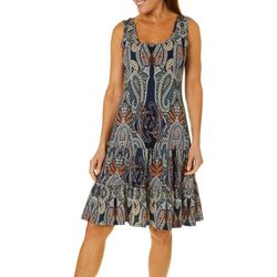 MSK Womens Ruffled Paisley Print Sundress