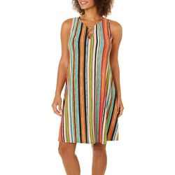 MSK Womens Striped Ring Neck Dress