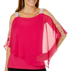 MSK Womens Solid Caged Sleeve Poncho Top