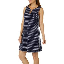 MSK Womens Polka Dot Side Stripe Ring Neck Dress