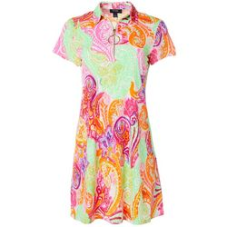 MSK Womens Colorful Paisley Print Zip Neck Swing Dress