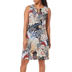 MSK Womens Abstract Floral Ring Neck Dress