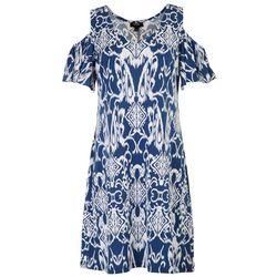 MSK Womens Cold Shoulder Swing Dress