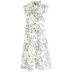 MSK Womens Minimal Button Down Dress