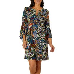 MSK Womens Paisley Print Ring Neck Bell Sleeve Dress