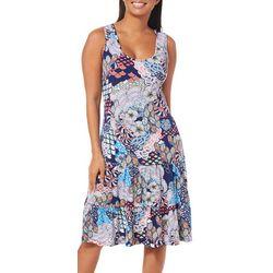 MSK Womens Ruffled Mixed Floral Sundress