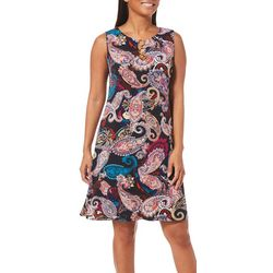 MSK Womens Paisley Print Ring Neck Dress