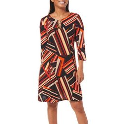MSK Womens Abstract Stripes Ring Neck Dress
