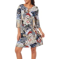 MSK Womens Mixed Floral Ring Neck Dress