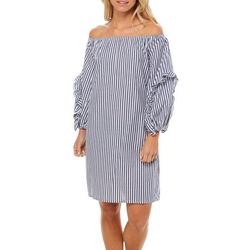 MSK Womens Striped Off The Shoulder Bubble Sleeve Dress