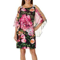 MSK Womens Floral Print Glitzy Caged Poncho Dress