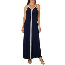 MSK Womens Embellished Solid Maxi Dress