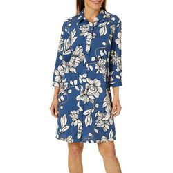 MSK Womens Floral Button Down Shirtdress