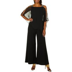 MSK Womens Glitzy Caged Sleeve Poncho Jumpsuit