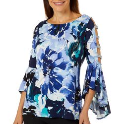 MSK Womens Floral Caged Bell Sleeve Top