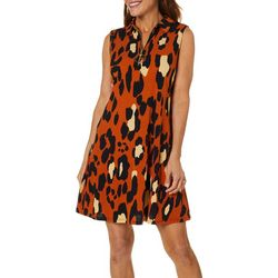 MSK Womens Leopard Print Zip Neck Swing Dress