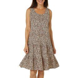 MSK Womens Leopard Print Ruffle Tier Sundress