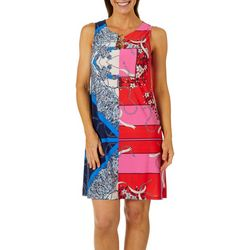 MSK Womens Status Chain Print Ring Neck Dress
