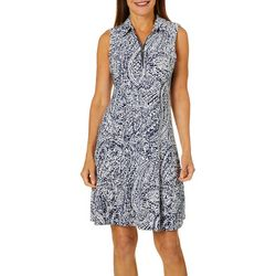 MSK Womens Paisley Print Zip Neck Swing Dress