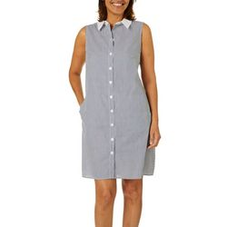MSK Womens Striped Button Down Collar Shirt Dress